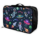 Qurbet Reisetaschen,Reisetasche, Travel Luggage Trolley Bag Portable Lightweight Suitcases Duffle Tote Bag Handbag, Astronauts Aliens Rocket Planets Comets Pattern