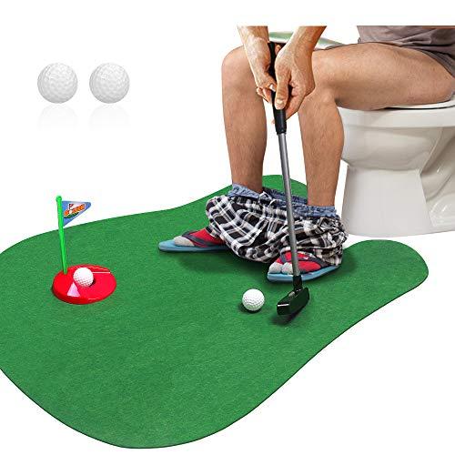 Meigirlxy Toilet Golf, Potty Golf Game with Mini Golf & Golf Putter Set, Indoor Golf Practice for Men/Children Gifts