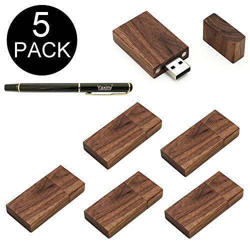 Yaxiny, chiavetta e memoria USB 2.0 e 3.0 in legno di noce, confezione da 5 Wood USB Disk-4 2.0/16GB