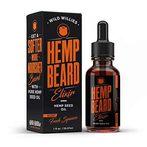 Hemp Beard Oil – Soften, Shape & Shine Your Beard, Eliminates Beard Itch & Moisturize – Fresh Squeeze Scent – contains Hemp Oil, Jojoba oil & Argan Oil – Best Beard Oil for Men by Wild Willies (1 oz.)