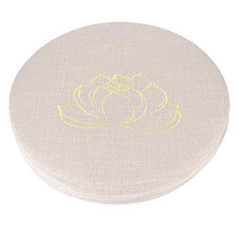 Chenqian, cuscino in lino con ricami addensati, rotondo, in paglia, per yoga, casa, balcone, cuscino beige #1, 40 x 40 x 6 cm