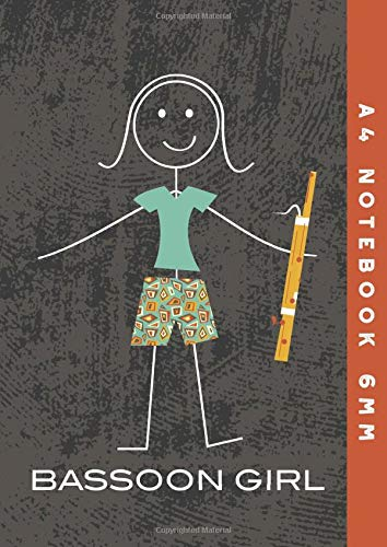 A4 Notebook 6mm: Bassoon Girl Lined Exercise Book