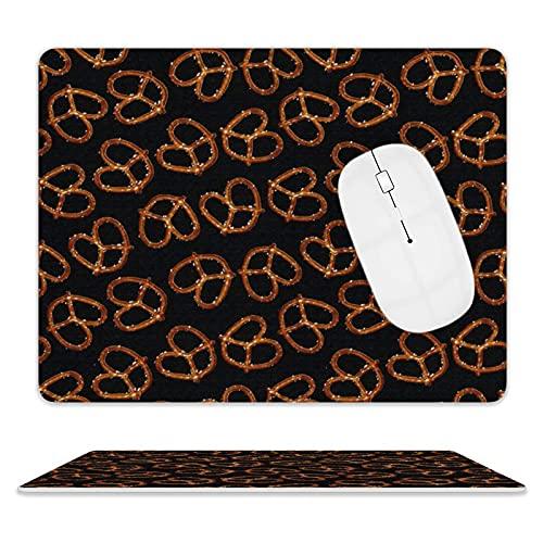N\A Alfombrilla de Cuero para Mouse para computadoras y Alfombrilla de Mouse con cursor de pc con Borde Cosido Alfombrillas de Mouse con Textura Premium (Todo Pretzels en Negro)