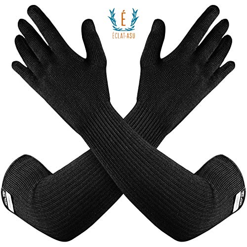 100% Kevlar Gloves with Sleeves by Dupont Anti Scratch Heat amp Cut Resistant Sleeves Gloves Safety Sleeves Long Arm Protectors Welding Kitchen Gardening Pet Grooming amp Bite Guard Black 1 Pair