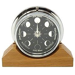 Handmade Prestige Moon Phase Clock on an English Oak Mantel/Display Mount