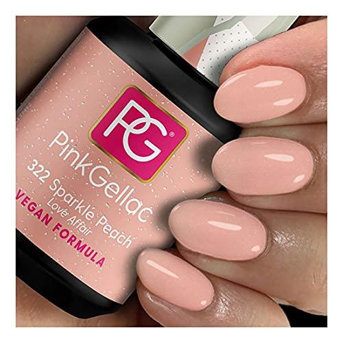 Pink Gellac Shellac Gel Nagellack 15 ml für UV LED Lampe | 322 Sparkle Peach Schimmer Vegan Formel | Gel Nail Polish for UV Nail Lamp | LED Nagel Lack Gellack Nagelgel