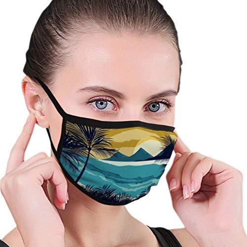 Herbruikbare Mond Masker voor Mooi Uitzicht Strand Avond Scene Behang Seasca