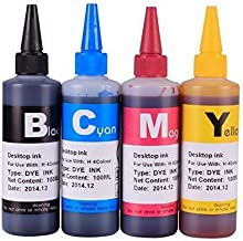 by double2house, Non-OEM, (4 x 100ml) Bulk refill dye ink for Epson refillable cartridge WorkForce WF-2520 WF-2530 WF-2540 WF-3520 WF-3540 WF-7510 WF-7520 WF-7010 NX530 XP-200 XP-300 XP-310 XP-400