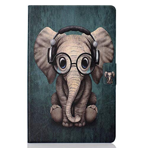CaseFun Samsung Galaxy Tab A 10.5 Case, PU Leather Soft TPU Slim Cover with Auto Wake/Sleep, Stand, Pocket for Samsung Galaxy Tab A SM-T590 / SM-T595 10.5 Inch 2018 Elephant