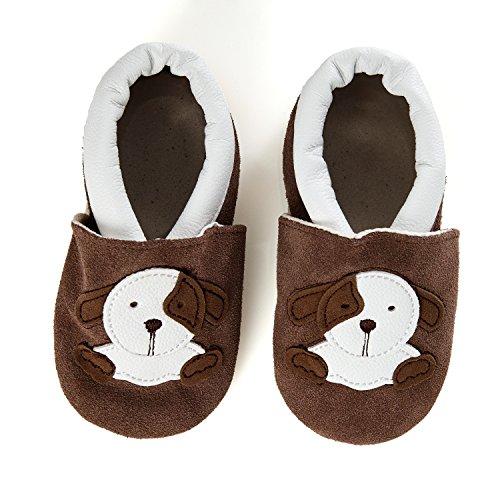 SmileBaby Premium Lauflernschuhe Krabbelschuhe Babyschuhe Baby Schuhe Braun Hund 6 bis 12 Monate
