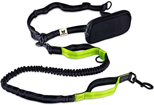 Jogging-Leine - Elastische und reflektierende 120 cm Hundeleine (bis 200 cm dehnbar) mit verstellbarem Hüftgurt aus reißfestem Nylon mit abnehmbarem Hüftbeutel - Ideal zum freihändigen Joggen, Spazieren und Wandern von Hundefreund