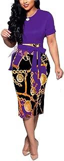 Women's Midi,Crew Neck Long Sleeves Ruffle Striped Print Bodycon Knee Length Club Dress