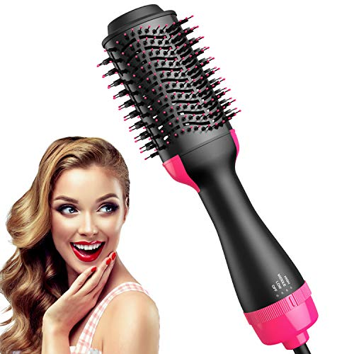 Chignon Round Hair Dryer Brush Blow Dryer Brush in one, Professional Ceramics Negative ion 4 in 1 hot air Hair Dryer straighten Styling volumizer Brush, Blowout Hair Drying Brush for Wet Hair