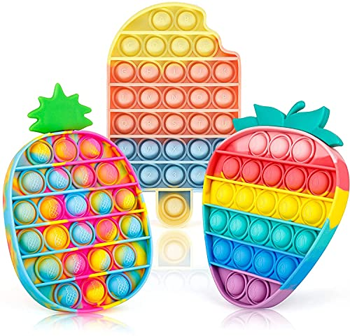Pop Fidget It Toys for Kids and Adults, Sensory Push Bubble Popper for Autism ADHD Add Stress Reliever, Rainbow Helado, Fresa & Piña 3 Pack