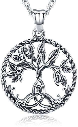 Aniu Silver Necklace for Women, Family Tree of Life Sterling Silver Pendant with Irish Celtic Knot for Mom/Grandma/Wife/Girlfriend, Oxidized Special Effect - Jewelry Gift Ideas