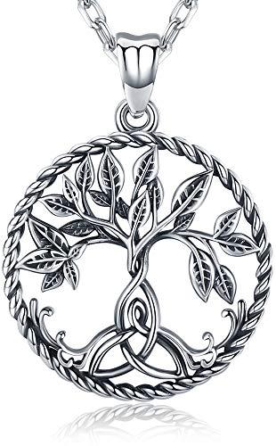 Aniu Collar del árbol de la vida, colgante de árbol genealógico celta para mujer, joyería de plata esterlina 925 con caja de regalo - efecto especial oxidado