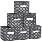 """FabTotes Storage Bins 6 Pack Collapsible Storage Cubes, 11""""x10.5""""x10.5"""" Large Toy Book Organizer Boxes with Handles and Label Card & Label Holder, Baskets for Organizing Closet Shelves (Dark Grey)"""