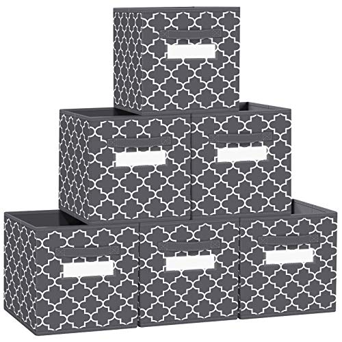 "FabTotes Storage Bins 6 Pack Collapsible Storage Cubes, 11""x10.5""x10.5"" Large Toy Book Organizer Boxes with Handles and Label Card & Label Holder, Baskets for Organizing Closet Shelves (Dark Grey)"