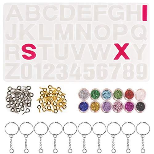 HOTPINK1 Kristall Epoxidharz Form Alphabet Buchstaben Nummer Anhänger Casting Silikonform