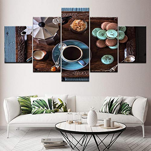 ZAQWSXCDE Leinwand Wandkunst 5 Stück Home Decor Leinwand Malerei Hd Drucke Kaffeetasse Bilder Küche Essen Dessert Haus Modular Wandkunst Poster(Rahmenlos)