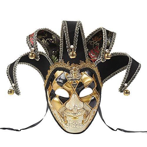 BLEVET Vintage Unisex Venetian Harlequin Eye mask Party Halloween Costume Mardi Gras Mask BK005 (Black)
