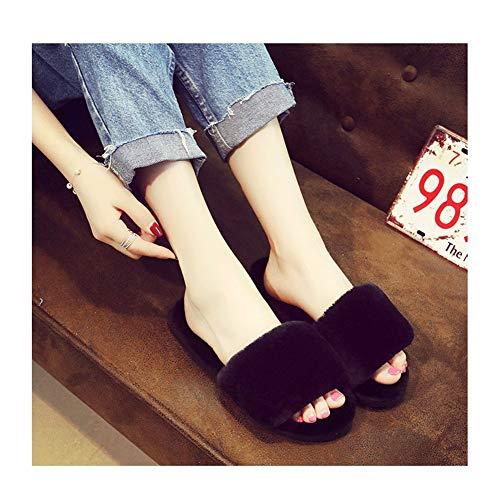 Suela de goma tacón de madera superior de piel sin Calzado abierto acogedor de las mujeres suaves zapatillas anti de la resbalón respirable ocasional de algodón lavable zapatillas de felpa de algodón