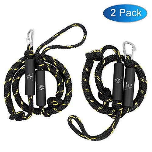 Obcursco PWC Bungee Dock Line Stretchable for Kayak Boat Marine Sets of Two4ft amp 6ft with Foam Float Perfect for PWC Jet Ski SeaDoo Yamaha WaveRunner Kayak Pontoon Black/Yellow