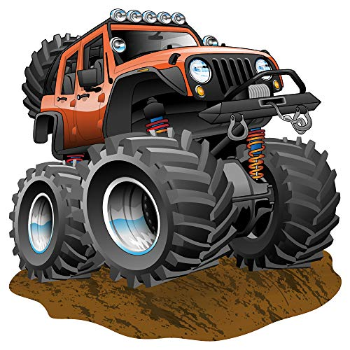 dekodino® Wandtattoo Auto Kinderzimmer Monster Truck Sand Wandsticker Fahrzeuge