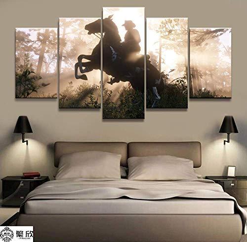 Canvas Leinwand Poster 5 Stück Videospiele Red Dead Redemption 2 Arthur Morgan Gutchs Gang Western Spiel Wandmalerei Home Decor,B,20 * 30 * 2+20 * 40 * 2+20 * 50 * 1