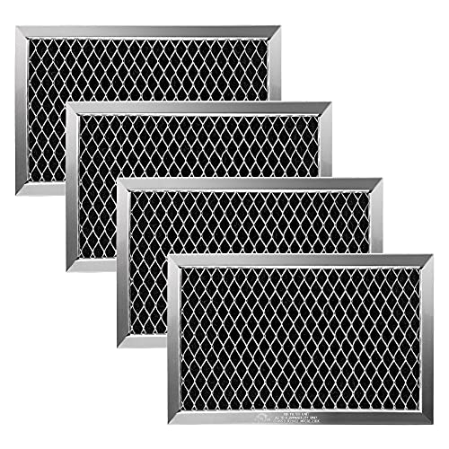 (4 Pack) JX81J WB02X11124 Microwave Recirculating Charcoal Filter Compatible with GE Microwave Oven Replace Filters WB2X11124, AP3791810 by Fetechmate