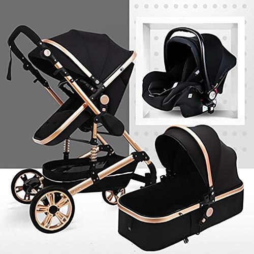 TXTC 3 In 1 Pram Stroller Carriage Foldable Baby Stroller Anti-Shock Springs High View Pram Baby...
