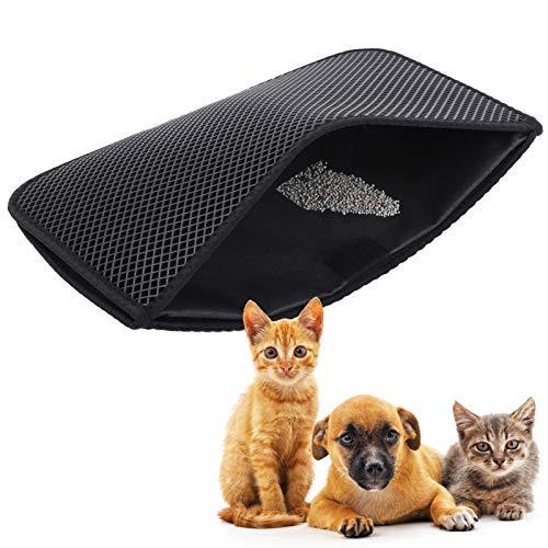 Alfombrilla de Arena para Gatos EVA de Doble Capa, Alfombrilla para atrapar Arena para Gatos Antideslizante Almohadilla de Control de dispersión para recogedor de Arena Suave para Mascotas(M-N