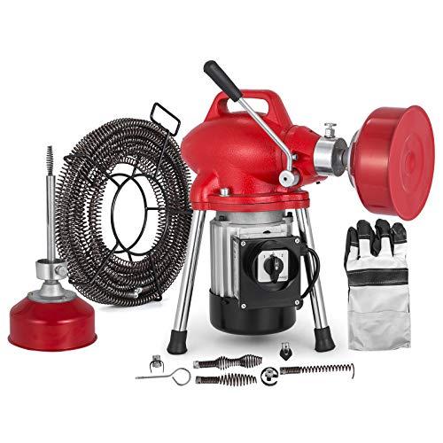 Mophorn Rohrreinigungsmaschine 20-100mm Rohrreinigungsgerät 250 Watt Spirale 12.5m x 16mm