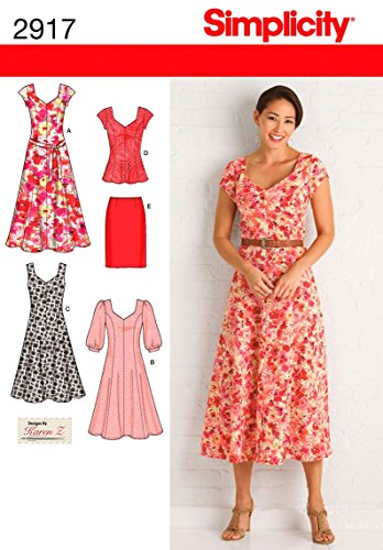 Simplicity 2917 AA - Patrones de Costura para Vestidos de Mujer (Tallas...
