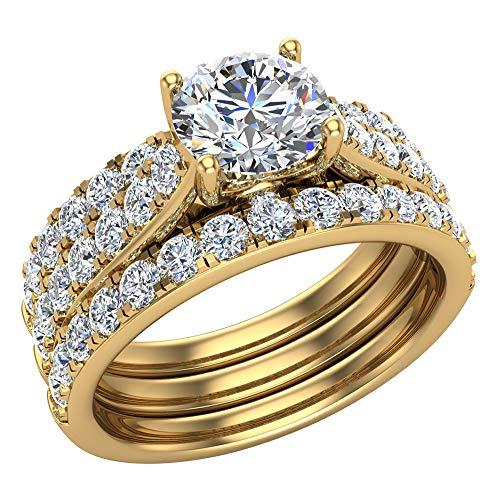 Juego de anillos de boda solitarios con diamantes acentuados con bandas realzadoras para novia, 1,90 quilates, oro amarillo de 14 quilates (G, SI)