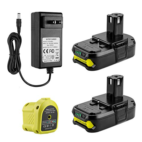 AYTXTG 2Pack 3.0Ah Replacement P102 Lithium Ryobi 18V Battery + P119 Ryobi Charger Li-ion & Ni-cad for Ryobi Oneplus Battery P100 P103 P105 P107 P108 P118 Ryobi 18v Battery Charger
