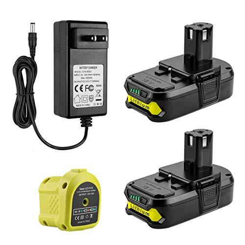 AYTXTG 2Pack 3.0Ah Replacement P102 Lithium Ryobi 18V Battery + P119...