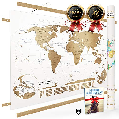 NIVI Scratch Off World Map (X-Large) International Travel Poster with Frame | 33 x 23 Inches | Country Flags, Continents, Major Cities, USA States, Provinces | Vibrant Colors | Compact Tube