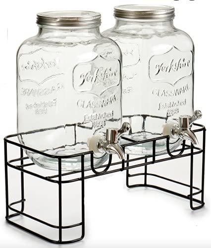 TIENDA EURASIA Dispensador de Agua/Bebidas Doble con Soporte - Recipiente de Cristal y Dosificador Metálico - 2 x 4L (Negro, Doble - 21 x 36 x 34,5 cm)