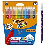 BIC Colouring Pens, Rotuladores Punta Media, 12 rotuladores, Multicolor