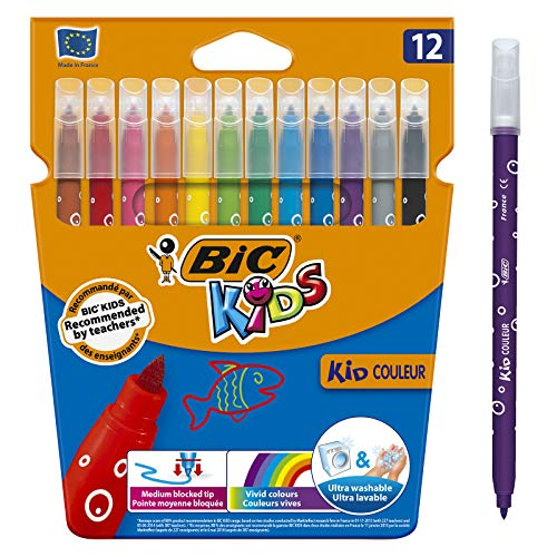 Bic Kids Kid Couleur Pennarelli a Punta Media con Inchiostro a Base d'Acqua Confezione 12 Pennarelli Colori Assortiti