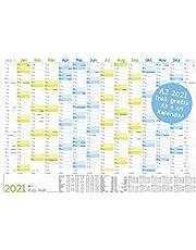 Kalendarz ścienny 2021 A2 (59 x 42 cm) na 14 miesięcy grudnia 2020 – styczeń 2022 | planer ścienny z przeglądem dni wakacyjnych i świątecznych, papier FSC®, składany + dodatkowy kalendarz A3 i A4!