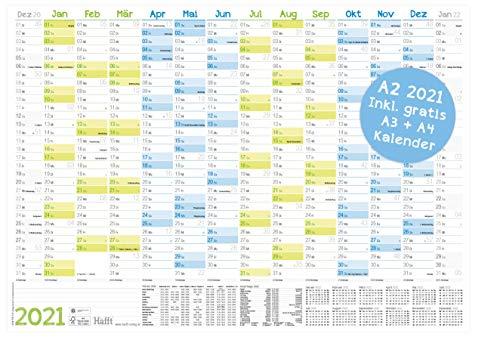 Wandkalender 2021 A2 (59 x 42 cm) für 14 Monate Dez 2020 - Jan 2022 | Wandplaner mit Ferien- und Feiertage-Übersicht, FSC®-Papier, gefalzt + extra A3 & A4 Kalender!