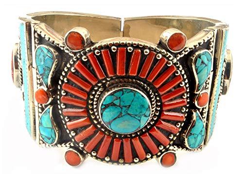 Indie artigiani corallo turchese vintage bracciale diametro–7,4cm taglia 925argento placcato gioielli moda donna gioiello bracciale per donna