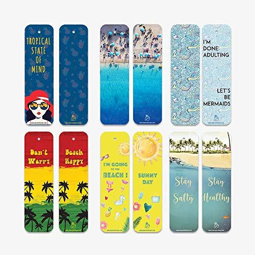 60 pcs Beach Summer Art Bookmark- Inspiration, Encouraging, Positive, Bookmarks Bulk.Unique Gift- (Beach)