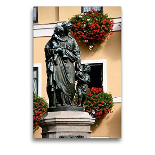 Premium Textil-Leinwand 50 x 75 cm Hoch-Format Brunnen in Weimar | Wandbild, HD-Bild auf Keilrahmen, Fertigbild auf hochwertigem Vlies, Leinwanddruck von Martina Berg