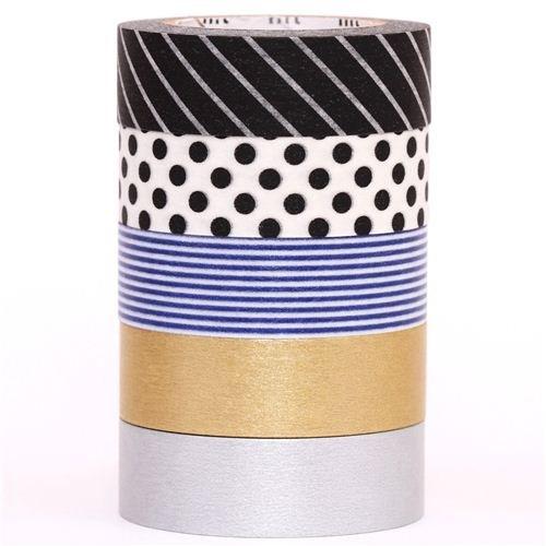 Set 5 nastri decorativi Washi mt toni bianco/nero in scatola
