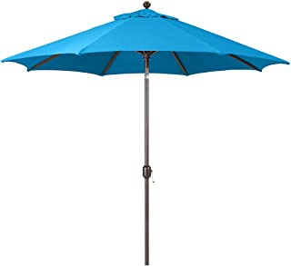 9-Foot Galtech (Model 737) Deluxe Auto-Tilt Umbrella with Antique Bronze Frame and Sunbrella Fabric Pacific Blue (Includes Extended Frame Warrantee)