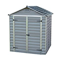 Maintenance free virtually unbreakable polycarbonate panels Tinted Light transmitting roof allows natural light inside the shed Included front and back air vents, anti-slip floor with foundation anchoring option Aluminium door frame with lockable lat...