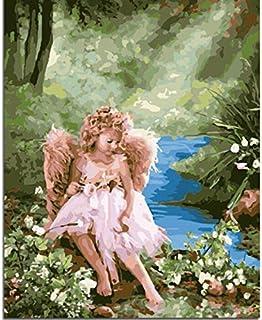 Angel Flower DIY Öl Öl Öl Zeichnung Von Hand Leinwand Malen Nach Zahlen Für Einzigartiges Geschenk Wohnzimmer Wandkunst Rahmenlose 40x50 cm B07P9MJ7MM  Schöne Kunst fda055